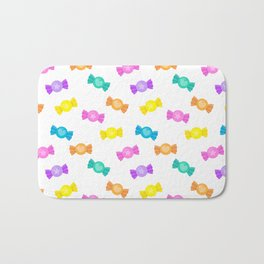 Cute Rainbow Candy Shop Pattern – Pastel Colors Bath Mat