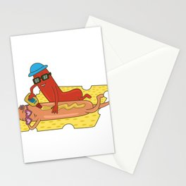 Sausages mustard hot dog beach cheese sausage gift Stationery Cards