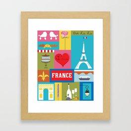 France - Collage Illustration by Loose Petals Framed Art Print