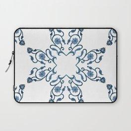 Blue Floral Heart Tile Laptop Sleeve