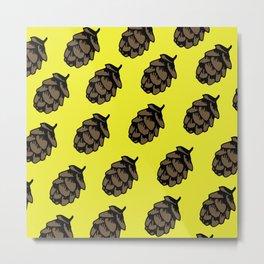 Yellow Pinecone Pattern Metal Print