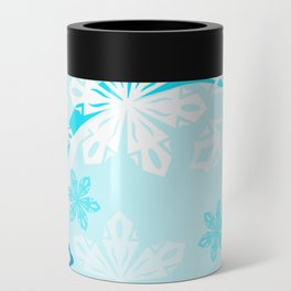 Blue Flower Art Winter Holiday Can Cooler
