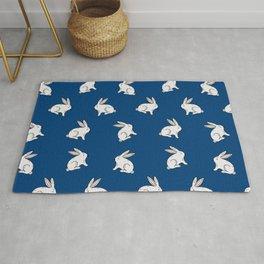 Rabbit pattern in dark blue Rug