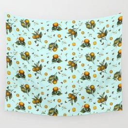 Oranges and Butterflies on Mint Wall Tapestry