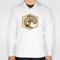 trout Hoodies featuring Trout Jumping Cartoon Shield by patrimonio