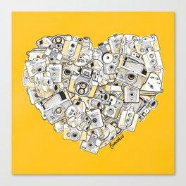 Camera Heart - on yellow Canvas Print