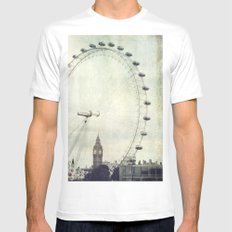 Big Ben and London Eye Mens Fitted Tee MEDIUM White