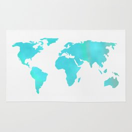 World Map - Turquoise Green Emerald Pool on White Rug