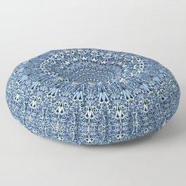 Light Blue Floral Mandala Floor Pillow