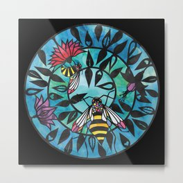 Bees - Paper cut design Metal Print