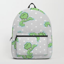Smiling Broccoli in a gray background Backpack