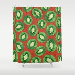 Kiwis on Orange Shower Curtain
