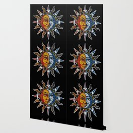 Celestial Mosaic Sun and Moon Wallpaper