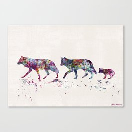 WOLVES FAMILY Canvas Print