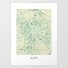 Rome Map Blue Vintage Art Print