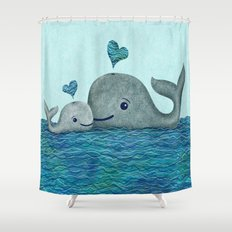 Whale Mom and Baby with Hearts Shower Curtain
