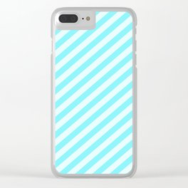 Aqua Blue Stripes Pattern Clear iPhone Case