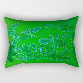Vintage Birds And Flowers - Green and Blue Rectangular Pillow