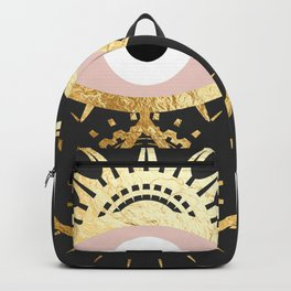 gold foil hamsa hand with blush pink Backpack
