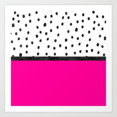 Handdrawn neon pink black watercolor polka dots Art Print