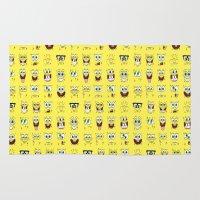 spongebob Area & Throw Rugs featuring spongebob  , spongebob  games, spongebob  blanket, spongebob  duvet cover by ira gora