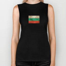 Vintage Aged and Scratched Bulgarian Flag Biker Tank