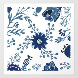 Porcelain Flowers Art Print