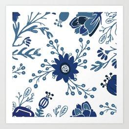 Porcelain Flowers Art Print