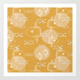 Mola Mola Yellow-Ocean sunfish Art Print