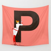helvetica Wall Tapestries featuring Patricia & Helvetica by ChicksAndType