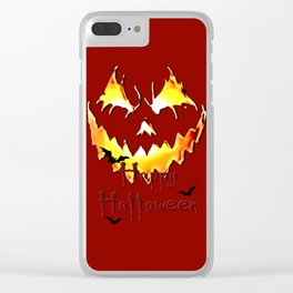 Happy Halloween! Jack-o'-lantern, pumpkin face, spooky, horror themed Clear iPhone Case