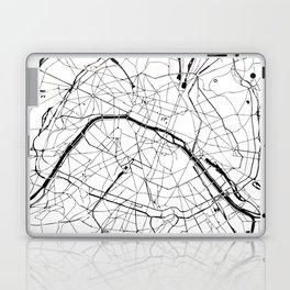 Paris France Minimal Street Map - Black and White Laptop & iPad Skin