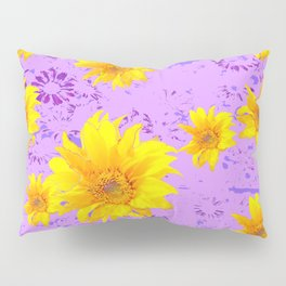 LILAC PURPLE ABSTRACT YELLOW FLOWERS ART Pillow Sham