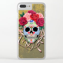 Mexican Roses Skull - Ocre Clear iPhone Case