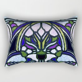 Blue and Green Glowing Art Nouveau Stain Glass Design Rectangular Pillow