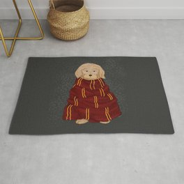 A dog in red scarf Rug