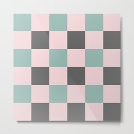 Contemporary Mint Pink Gray Gingham Pattern-Mix and Match Metal Print