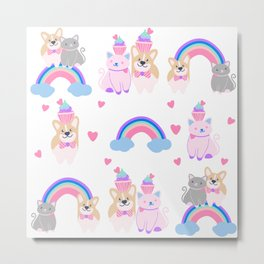 corgi and kitty over the rainbow Metal Print