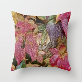 Glossy autumn leaves Throw Pillow