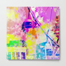 Ferris wheel and modern building at Las Vegas, USA with colorful painting abstract background Metal Print