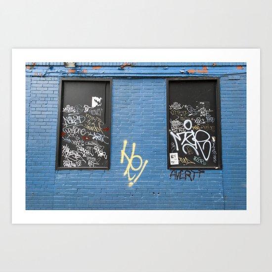 Blue brick wall 1 Art Print