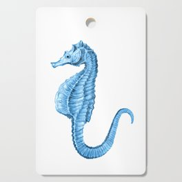 Seahorse nautical blue watercolor Cutting Board