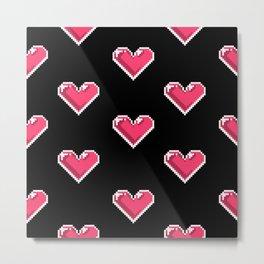 Pixel Hearts Pattern Metal Print