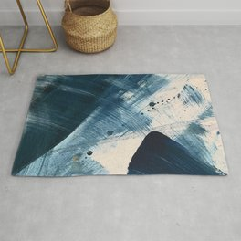 Against the Current [2]: A bold, minimal abstract acrylic piece in blue, white and gold Rug