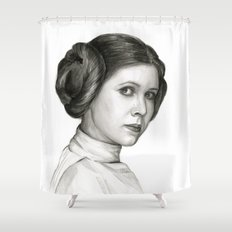 Princess Leia Watercolor Painting Carrie Fisher Portrait Shower Curtain