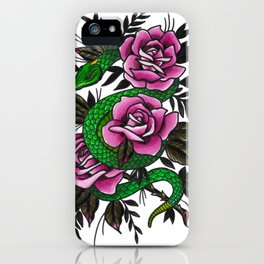 Neo-traditional Snake and Roses iPhone Case