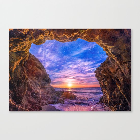 Beach Cave in Malibu Canvas Print