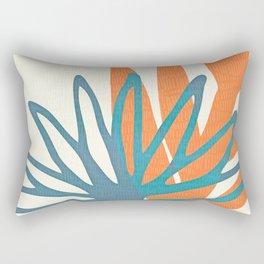 Mid Century Nature Print / Teal and Orange Rectangular Pillow