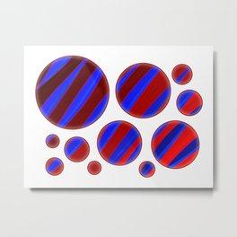Zebra Stripes Red & Blue Bubbles Metal Print