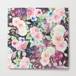 Blush pink watercolor elegant roses floral nebula Metal Print